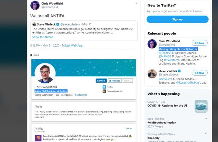 "Twitter's Senior Staff Engineer Posts ""We Are All Antifa"""